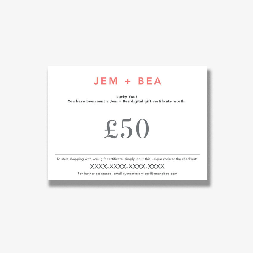 Jem+Bea Gift Voucher 50