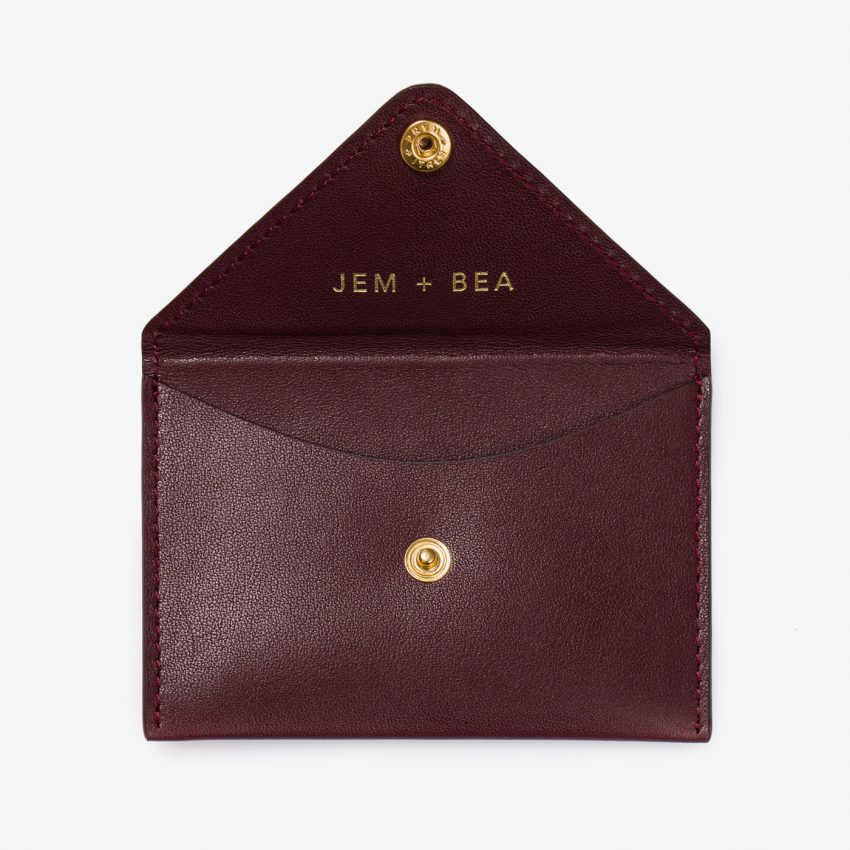 Jem+Bea Personalised Card Case Burgundy