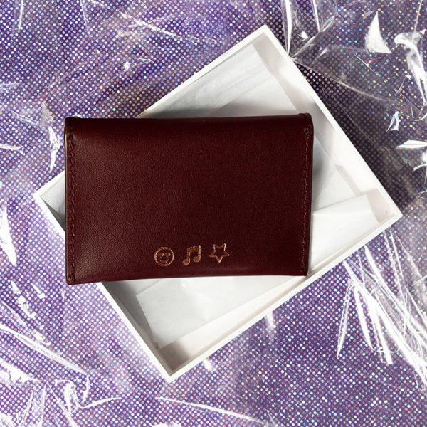 Jem+Bea Personalised Card Case Burgundy