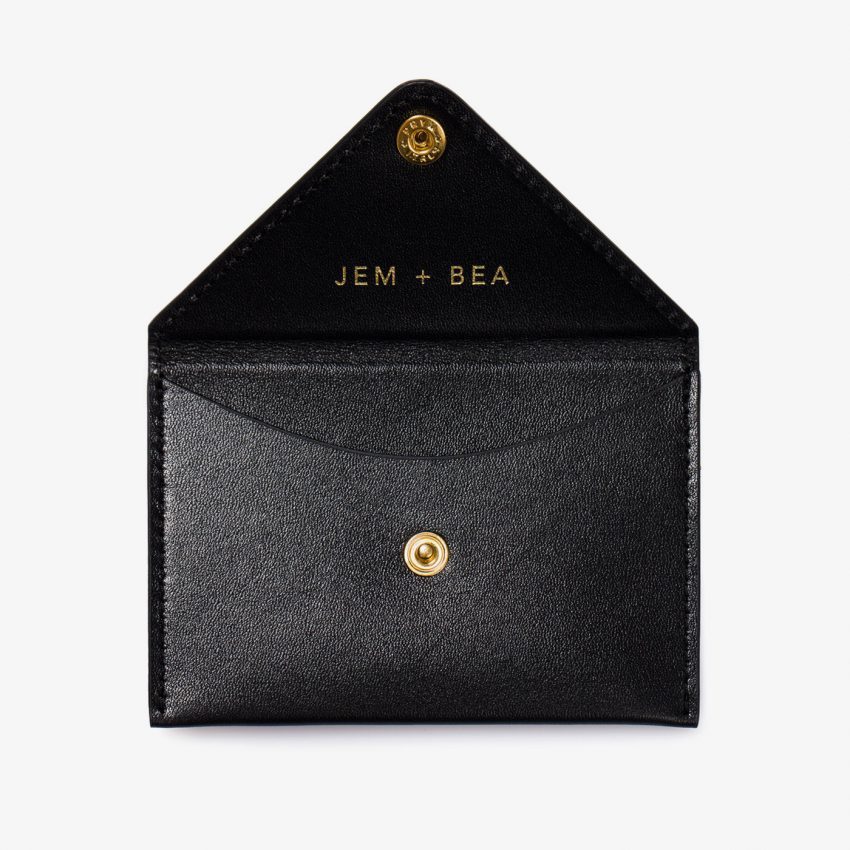 Jem+Bea Personalised Card Case Black Smooth