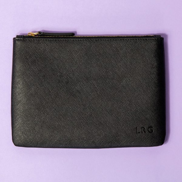 Jem+Bea Personalised Clutch Black Saffiano