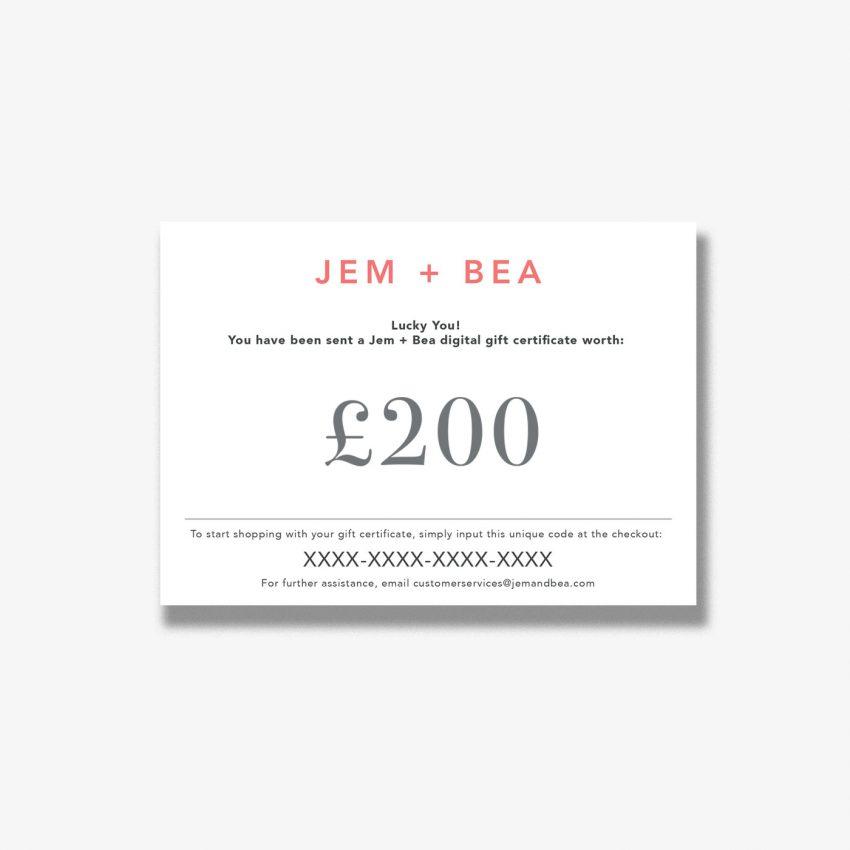 Jem+Bea Gift Voucher 200