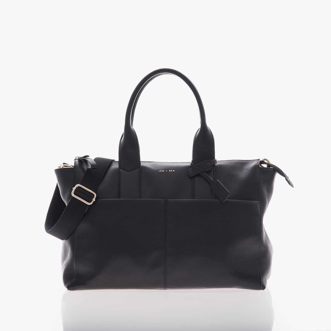Black soft leather changing bag