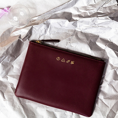 Jem + Bea Personalise Clutch in Burgundy Leather